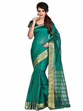 Rama Green Indian Art Silk Sari Saree Bollywood Wedding Party Wear Saree Ethnic