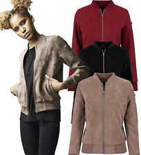 Urban Classics Ladies Suede Bomber Jacket Flight Jacket Suede Suede