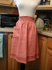 Vintage Red and White Gingham Half Apron Chicken Scratch Embroidery Handmade