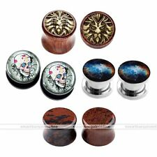 8pcs Steel Obsidian Sono Wood Ear Saddle Flared Plugs Stretcher Gauges Piercing