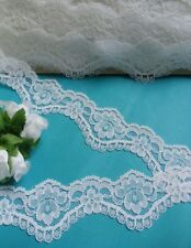 """1.5"""" Wedding Bridal White Floral Scallop Lace Trim- 1 or 5 Yards (T679W)"""