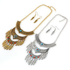 Sexy Women Chunky Tiered Chain Vintage Necklace Bib Statement Ear Set Jewelry H