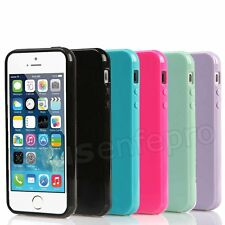 For iPhone 5 5S SE Soft TPU Silicone Gel Rubber Solid Colour Back Case Cover