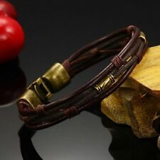 Mens Boys Handmade Leather Braided Surfer Wristband Bracelet Bangle Wraps new