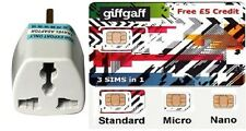 NEW UK PAY AS YOU GO SIM Card giffgaff - Free £5 Credit included - USA Seller