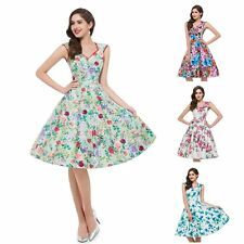 Vintage Style Floral Printed Rock Women Summer Beach Party Swing Cocktail Dress