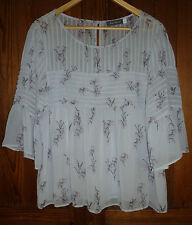 Mint Velvet, size 18: fine, white crepe, pin tuck top with pretty floral sprig