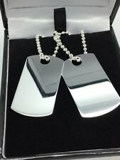 Dog Tag & 2mm Ball Chain SOLID 925 Sterling Silver **FREE ENGRAVING**