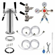 2-Tap Double Chrome Tower Draft Beer Kegerator Conversion Kit