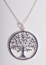 STERLING SILVER TREE OF LIFE CIRCLE PENDANT CHAIN NECKLACE 925