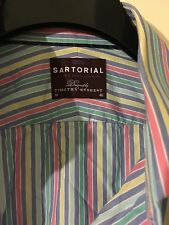 Marks And Spencer's Sartorial Candy stripe Shirt 18 Inch Double Cuff