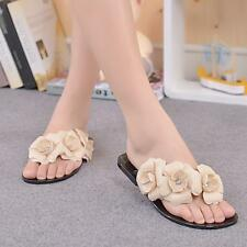Womens Camellia Flower Flat Slippers Sandal Summer Jelly Comfortable Beach Shoes