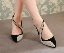 Womens Formal Stiletto Heels Pumps Multi-colored Rhinestone Strappy Pointy Shoes