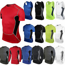 2016 Mens Compression Baselayer Body Armour Under Skin Vest Tee Shirt Tight Tops
