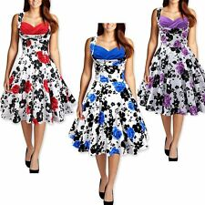 Fashion Women Floral Printed Rockabilly Cocktail Dress Evening Party BallDress