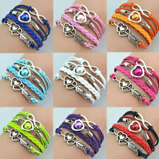 Fashion Infinity Love Heart Friendship Antique Silver Leather Charm Bracelet