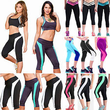Womens Stretch Pants Capri Running Jogging Yoga Fitness Sport Leggings Tracksuit