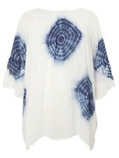 Womens plus size 20    28 top tie - dye longer length tunic  white / blue