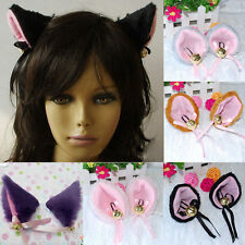 Cosplay Party Cat Fox Faux-Fur Ears Bell Anime Costume Hair Clip MultiColor LASL