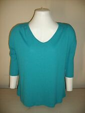 NWT UK STYLE Women's 3/4 Dolman Sleeve Tee V-Neck Pleated BlueTeal Knit Top