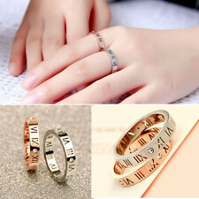 Hot roman numerals Carved Love Band Titanium Stainless Steel Rings Wedding Gift