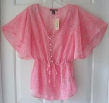 NWT Forever 21 Womens Juniors Pink Sheer Dotted Summer Chiffon Shirt Top Small