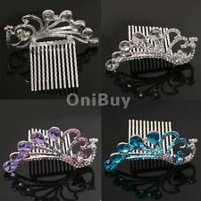 Princess Bridal Wedding Peacock Diamante Rhinestone Women Lady Hair Comb Tiara