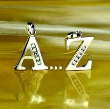 925 Sterling Silver Initial Letter CZ Pendant