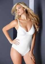 NICE SIZE Body Briefer 36-46, B-DD _ Black or White_ Wired Cups Satin Front_NWT