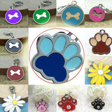 Puppy Pet Dog Cat Lovely Collar Tag Round Paw Zinc Alloy Engraved Collar Cute