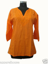 Indian Cotton Kurti Embroidered Women Short Tunic Casual Short Blouse Hippie Top