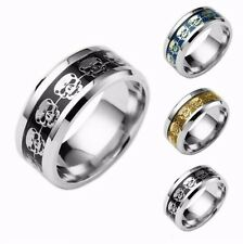Size 6-12 Men's 8mm Skull Celtic Band Ring Wedding Jewelry Stainless Steel