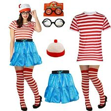 RED WHITE STRIPED TSHIRT SET CHARACTER Wheres Fancy Dress Outfit Wally Costume