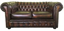 Vintage Style Chesterfield Genuine Leahter Two Seater Sofa Antique Brown