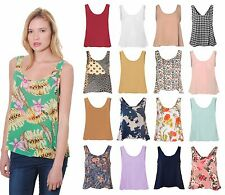 Womens Sleeveless Chiffon Vest Top Crop Plunge Scoop Neck Printed Plain Relaxed