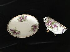 VINTAGE OLD Trimont Ware CHINA HAND TEA CUP with feet AND SAUCER  JAPAN