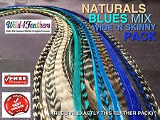 Feather Hair Extensions Naturals Turquoise Blue 20 Wide n Skinny Mix FREE $7Gift