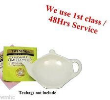 Tea Bag Tidy Rest Spoon Holder White Vinci Porcelain Kitchen Home Tea coffee