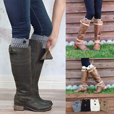 Women Winter Leg Warmers Button Crochet Knit Boot Socks Toppers Cuff Popular HOT