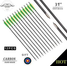 New Yellow&Green Archery Hunting Carbon Arrows Compound  Recurve Bow Field Point
