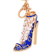 Fashion Enamel Lady Handbag Keychain Crystal Golden High Heeled Shoes Key Ring