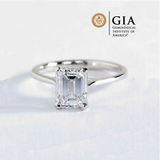 GIA Certified 4 Prong Emerald Cut Solitaire Diamond Engagement Ring Platinum