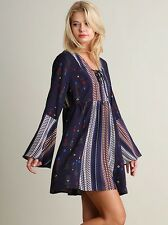 Umgee Women Dress Size S M L Boho Print Peasant Bell Sleeve Tunic Hippie NAVY