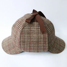 Sherlock Holmes Deerstalker Wool Country Tweed Check Ear Flaps Hunting Hat Cap