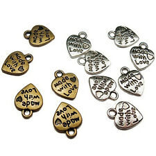 DIY Craft 50Pcs Silver/Gold Plated MADE WITH LOVE Heart Charms  Pendants
