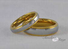 His &Hers Couple Tungsten Carbide With Plated Gold Wedding Engagement Ring Band