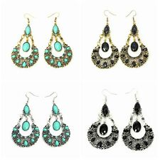 1 Pair Tibetan Silver Flower Dangle Hook Earrings Turquoise Bead Retro Bohemian