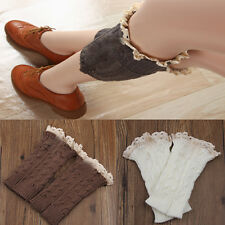Lady's  retro Crochet Knitted Lace Trim Boot Cuffs Toppers Leg Warmers Sock
