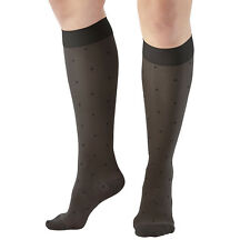 AW Style 14 Sheer Support Dot Pattern Closed Toe Knee Highs -  15-20 mmHg