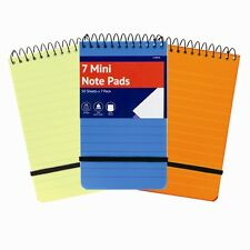 7x A7 Pocket Travel Size Note Jotter Pad Elastic Strap Ruled Mini Plastic Cover